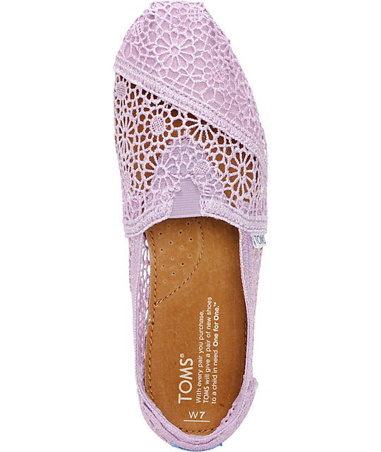 Toms Classics Lilac Snow Crochet Womens Slip On Shoes