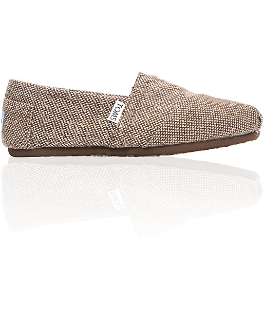 Toms Classics Metallic Brown Tweed Womens Shoes