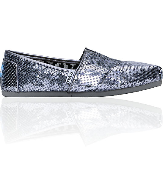 Toms Classics Pewter Sequins Womens Shoes