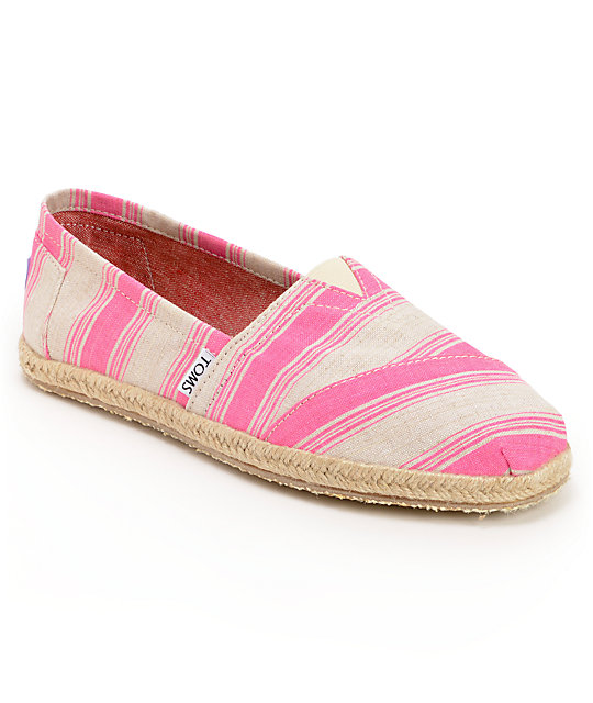 Toms Classics Pink Umbrella Stripe Womens Slip On Shoes