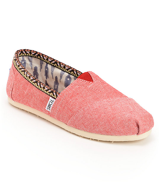 Toms Classics Red Chambray Womens Slip On Shoes
