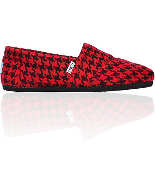 Toms Classics Red Houndstooth Womens Slip On Shoes