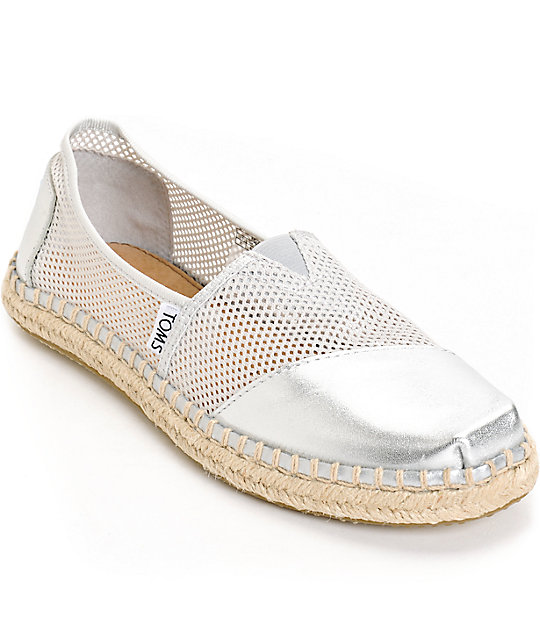 Toms Classics Silver Glitter Slip-On Womens Shoes | Zumiez