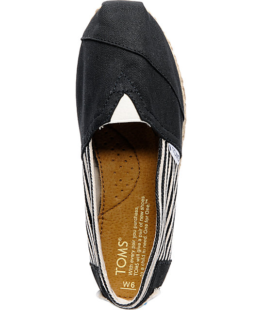 Toms Classics Womens University Black Canvas Shoes