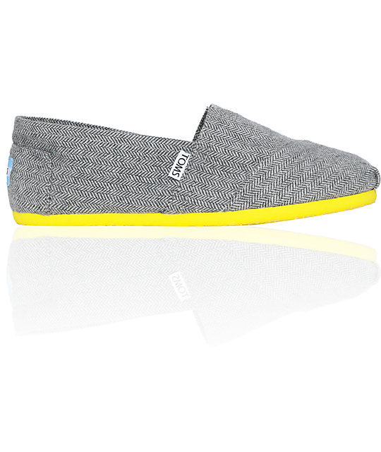 Toms Classics Yellow Pop Herringbone Womens Shoes