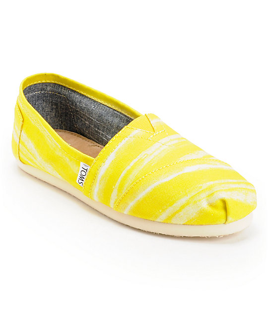 Toms Classics Yellow Stripe Womens Slip On Shoes