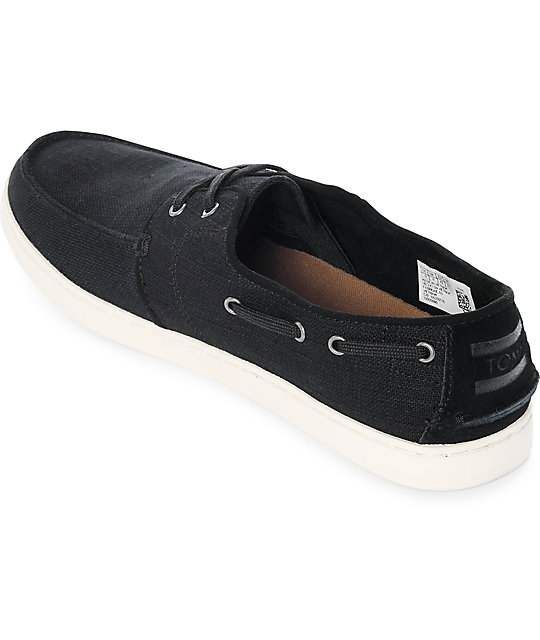 Toms Culver Lace Up Black Washed Linen Shoes