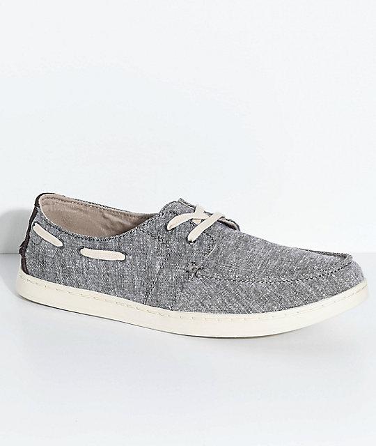 Toms Culver Lace Up Brown & Grey Slub Chambray Shoes