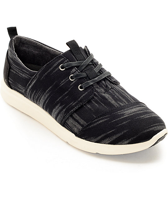 Toms Del Rey Black Brushed Wool Womens Shoes