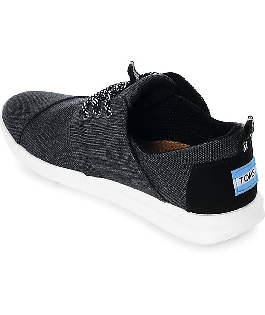 Toms Del Rey Black Washed Canvas Shoes
