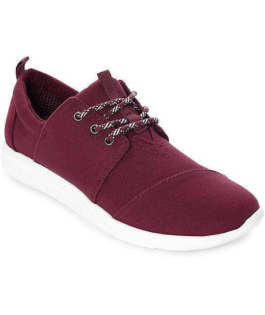Toms Del Rey Burgundy Washed Canvas Shoes