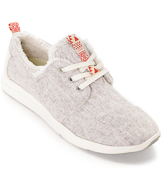 Toms Del Rey Oatmeal Wool & Shearling Womens Shoes