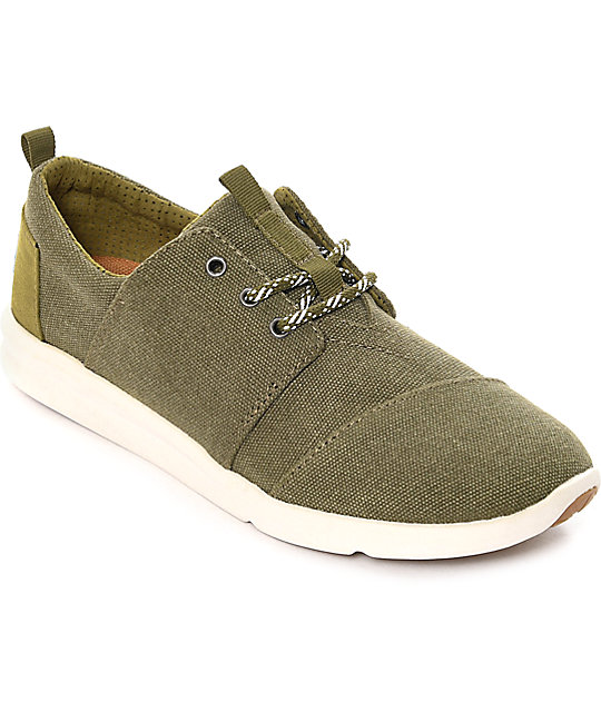 Toms Del Rey Olive Washed Canvas Women's Shoes