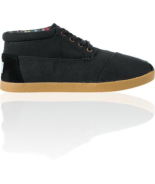 Toms Edson Botas Black Burlap Shoes