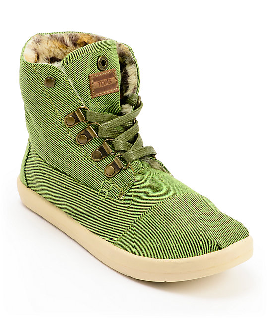 Toms Highland Botas Green and Leopard Print Womens Shoes