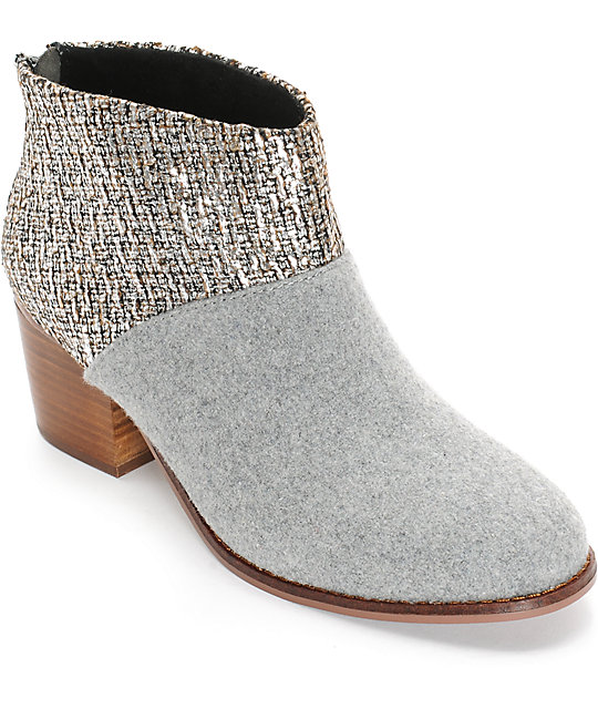 Toms Leila Grey Felt Shine Boucle Womens Boots
