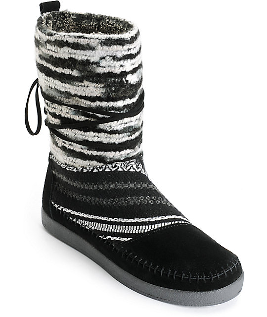 Toms Nepal Black Suede Textile Womens Boots