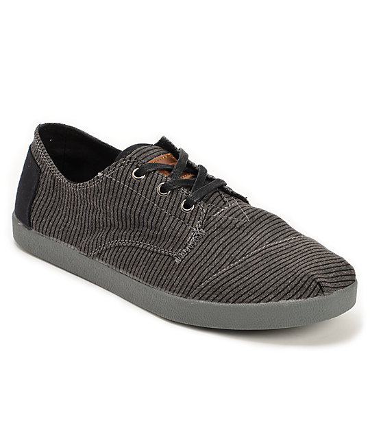 toms paseos black stripe canvas mens shoes