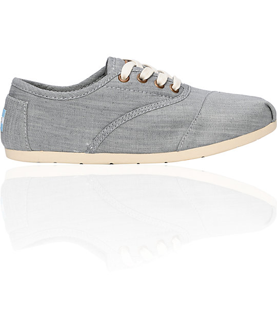 Toms Shoes Cordones Grey Chambray Womens Shoes