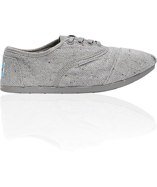 Toms Shoes Cordones Grey Wool Fleck Womens Shoes