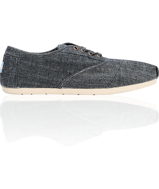 Toms Shoes Mens Cordones Charcoal Chambray Shoes