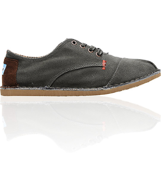 Toms Shoes Mens Desert Oxford Charcoal Canvas Shoes