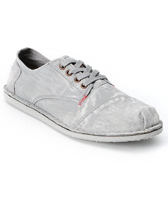 Toms Shoes Mens Desert Oxford Grey Bastien Canvas Shoes