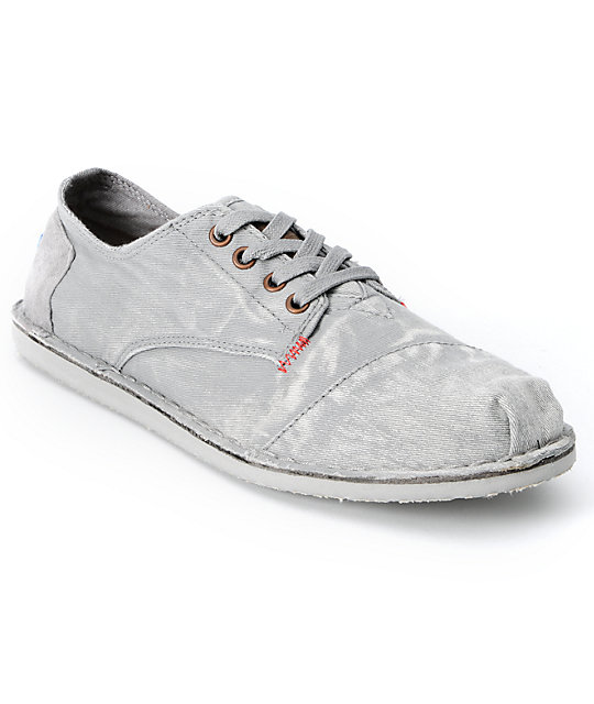 toms shoes mens desert oxford grey bastien canvas shoes