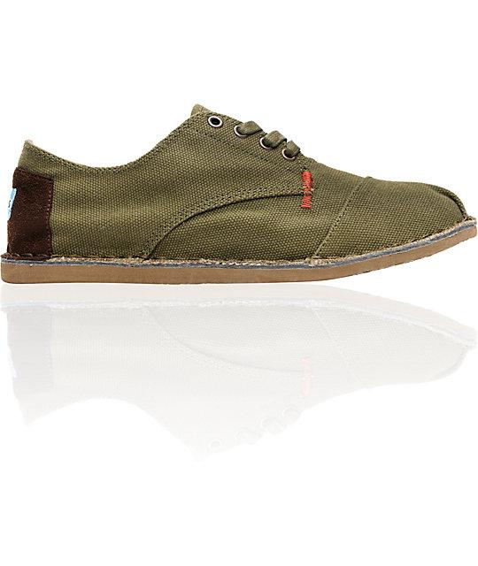 Toms Shoes Mens Desert Oxford Olive Canvas Shoes