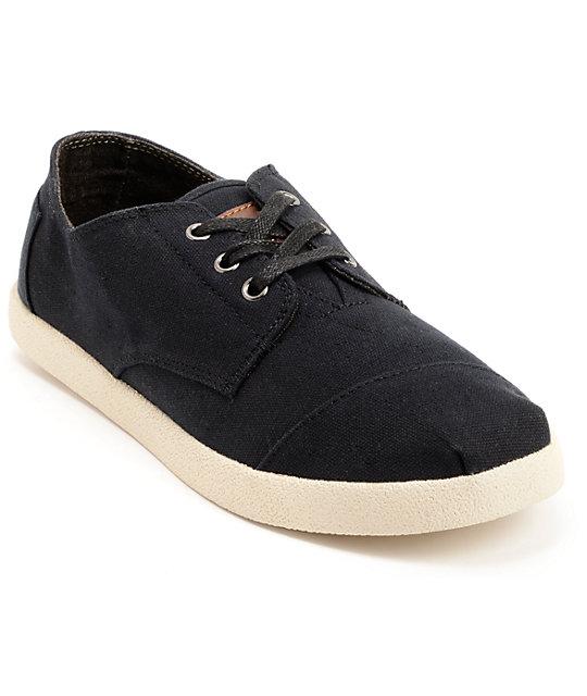 toms shoes paseos black canvas shoes zumiez