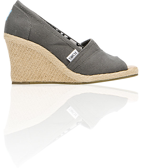 toms shoes wedge ash grey canvas shoes