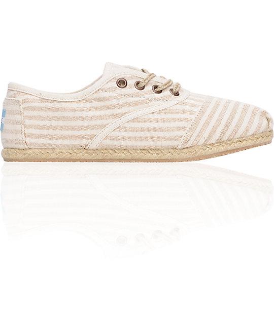 Toms Shoes Womens Cordones Tan Linen Shoes