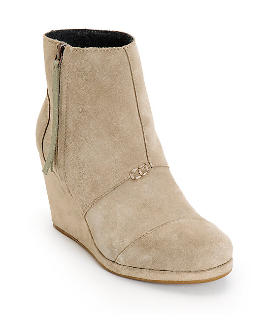 Toms Taupe Desert Wedge High Shoes - Taupe Desert Wedge High Shoes