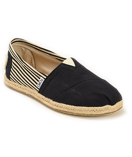 Black Toms With Black Sole Toms University Rope Sole