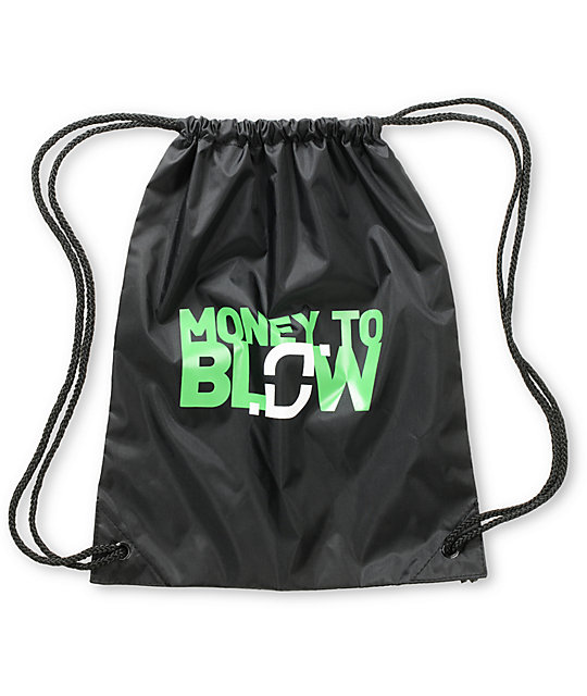 Too Many Loose Strings Money to Blow Black Drawstring Bag