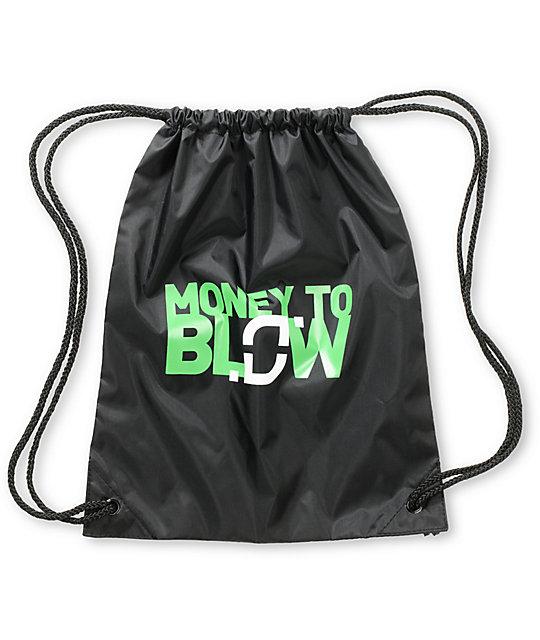 Too Many Loose Strings Money to Blow Black Drawstring Bag