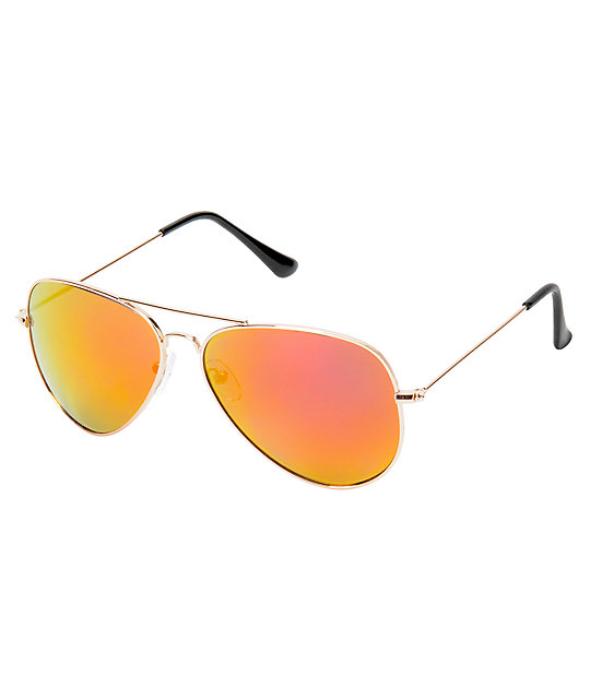 Top Gun Aviator Gold & Red Mirror Sunglasses