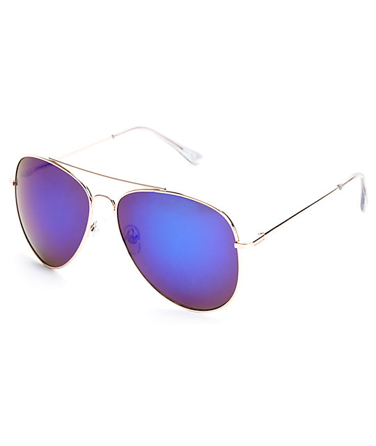 Top Gun Red Blue Aviator Sunglasses