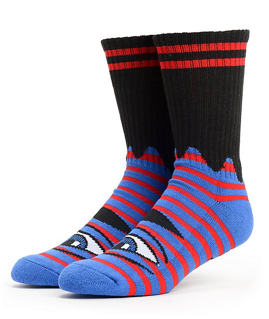 Toy Machine Sect Eye Blue Striped Crew Socks