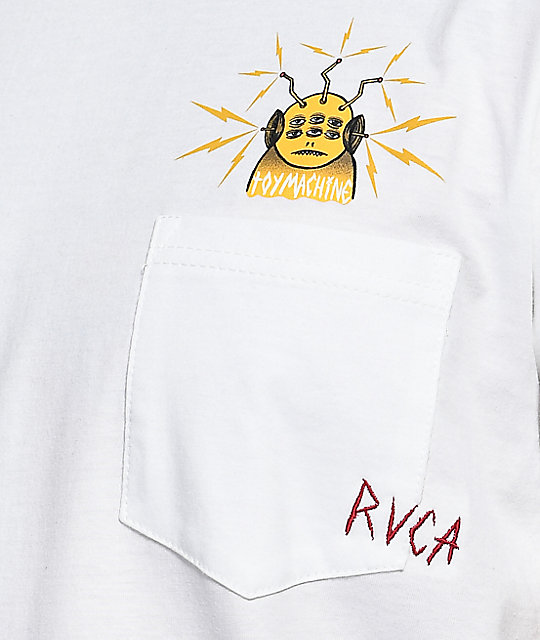 Toy Machine X RVCA White Pocket T-Shirt