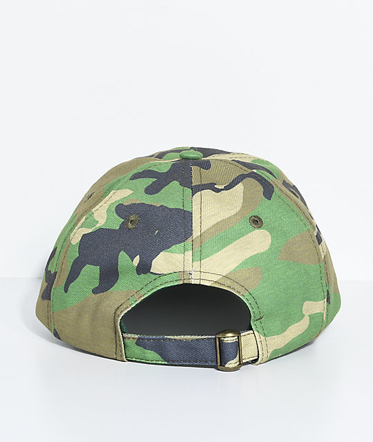 Trap Lord Crest Camo Green Strapback Hat