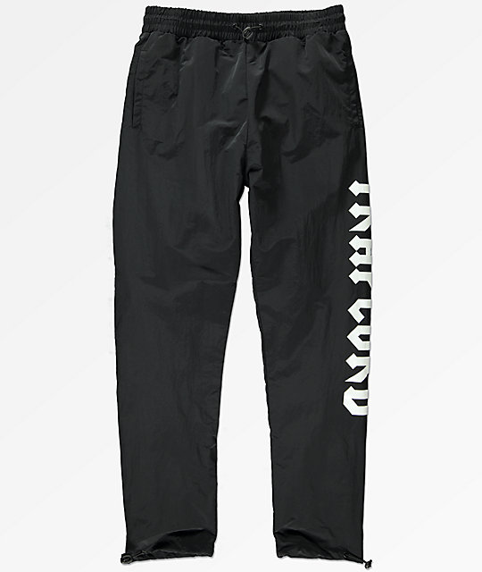 Traplord Black Nylon Track Pants by Traplord