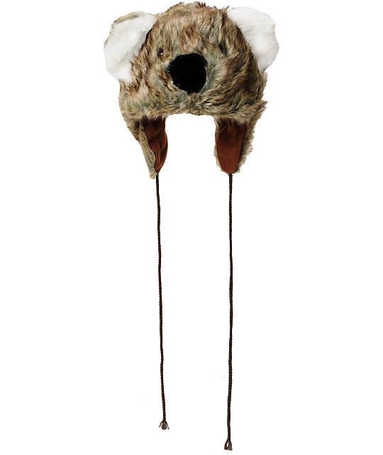 Tri-Coastal Koala Fur Trapper Brown Earflap Beanie