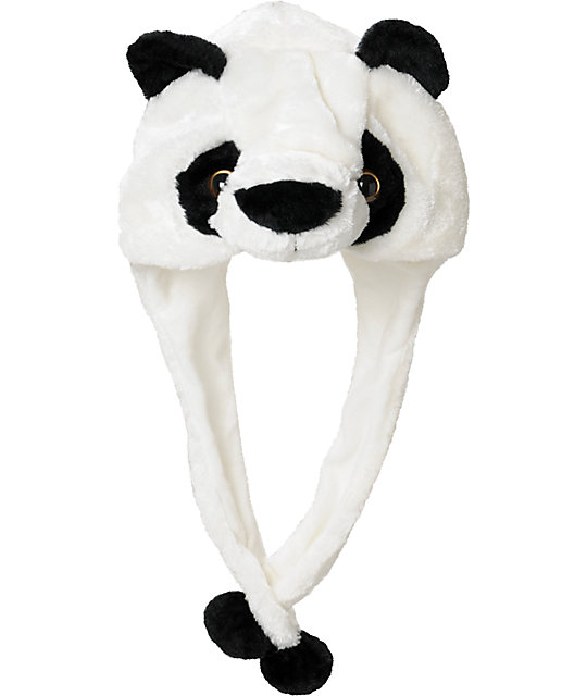 Tri-Coastal Panda Fur Trapper White Earflap Beanie