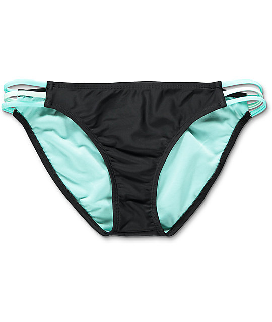 Trillium Black & Mint Crush 3 Strap Bikini Bottom