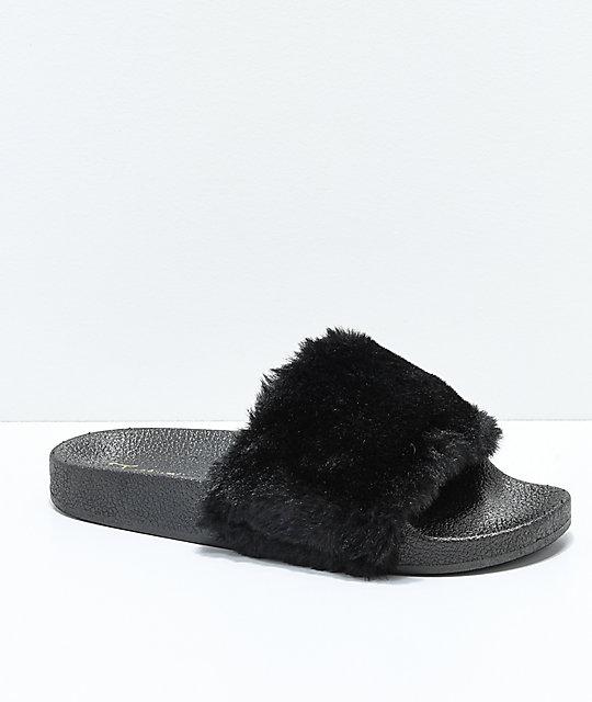 Trillium Black Fur Slide Sandals by Trillium