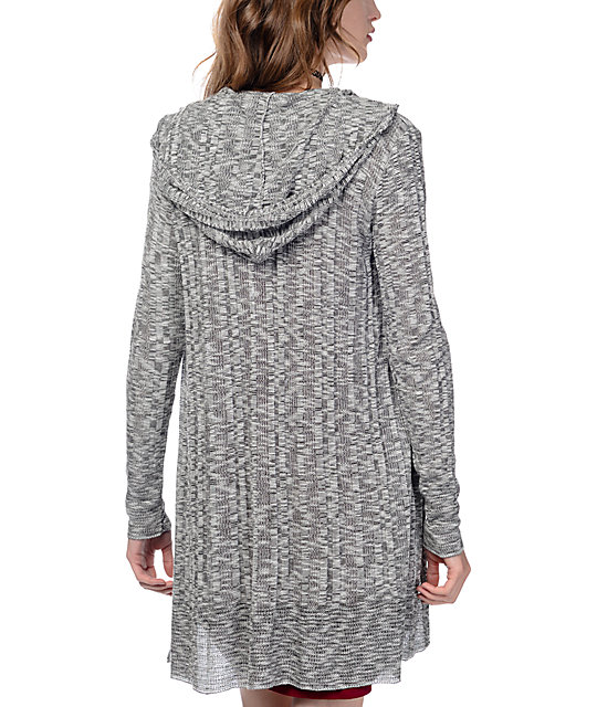 Trillium Bri Grey Hooded Cardigan | Zumiez