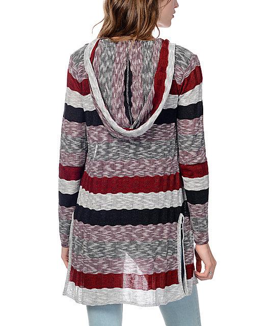 Brooke Burgundy Stripe Hooded Cardigan