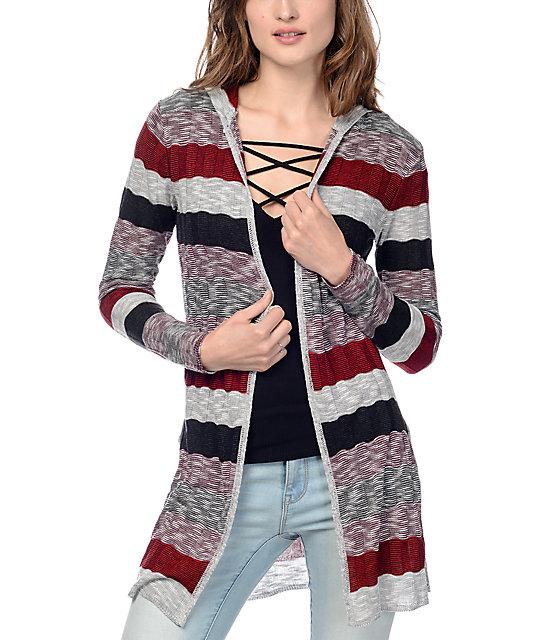 Trillium Brooke Burgundy Stripe Hooded Cardigan
