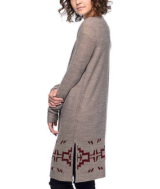 Trillium Camille Tribal Brown Cardigan